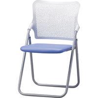 サンケイ 折りたたみ椅子 S-FITハイバック 座:ミドルブルー(ビニールレザー) 2脚セット (直送品)
