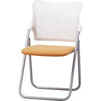 サンケイ 折りたたみ椅子 S-FITハイバック 座:オレンジ(布) 2脚セット (直送品)