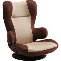 タマリビング フロアチェア コロネ ベージュ/ブラウン 座椅子 無段階リクライニング 360度回転式 1脚 (直送品)