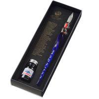 エルバン ガラスペンねじり&ミニインク(ナイトブルー)セット hb21218set 1個 (直送品)