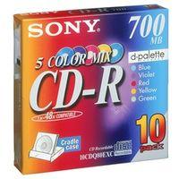 ソニー データ用CDーR 追記型 700MB 48倍速 5色カラーMix 10枚P クレードルケース 10CDQ80EXC 1式  (直送品)