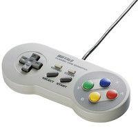 バッファロー レトロ調 USBゲームパッド 8ボタン SFCタイプ グレー BSGP810GY 1台  (直送品)