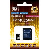 SuperTalent UHSーI microSDXCメモリーカード 128GB Class10 SDXC変換アダプタ付 ST28MSU1P 1個  (直送品)