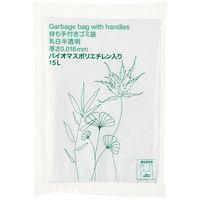 アスクル オリジナル持ち手付きゴミ袋 乳白半透明15L PAJE5 1パック(30枚入)