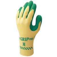 天然ゴム背抜き手袋 簡易包装グリップ(ソフトタイプ) M グリーン 5双 「現場のチカラ」 310 ショーワグローブ