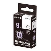 カシオ ネームランドテープ 油のついている面にもしっかりはれるテープ 9mm 白ラベル(黒文字) 1個 XR-9TRWE