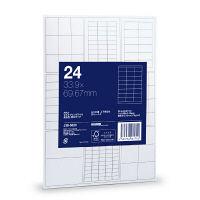 アスクル マルチプリンタラベル(粘着ラベル) 高白色・厚口タイプ ハイグレード 24面上下余白 20枚