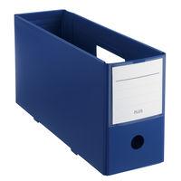 プラス PPボックスファイル+ A4ヨコ ハーフサイズ 背幅100mm ネイビー 紺 76000
