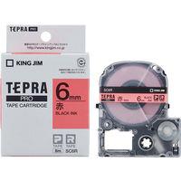 キングジム テプラ PROテープ 6mm カラーラベル パステル 赤ラベル(黒文字) 1個 SC6R