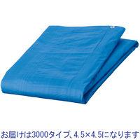 「現場のチカラ」 ブルーシート(アルミハトメ) 3000タイプ厚手 4.5×4.5m アスクル