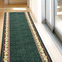 萩原 タフトプリント廊下敷き(裏貼り) アイラス グリーン 約67×240cm 1枚(直送品)
