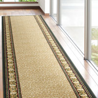 萩原 タフトプリント廊下敷き(裏貼り) アイラス ベージュ 約67×340cm 1枚(直送品)