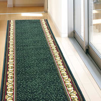 萩原 タフトプリント廊下敷き(裏貼り) アイラス グリーン 約80×240cm 1枚(直送品)