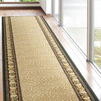 萩原 タフトプリント廊下敷き(裏貼り) アイラス ベージュ 約80×700cm 1枚(直送品)