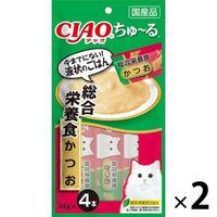 いなば CIAO ちゅーる 猫用 総合栄養食 かつお 国産(14g×4本) 2袋 <ちゅ~る>
