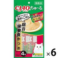 いなば CIAO ちゅーる 猫用 総合栄養食 かつお 国産(14g×4本) 6袋 <ちゅ~る>