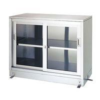 シンコー(SHINKO) 保管庫 (SUS430・一段式・ガラス扉仕様) 1800×450×950 LG-18045 1式 61-0013-09(直送品)