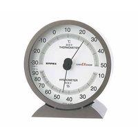 スーパーEX高品質温・湿度計 132×121×50mm 260g(ブリスター) メタリックグレー EX-2717 61-6864-31 (直送品)