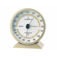 スーパーEX高品質温・湿度計 132×121×50mm 260g(ブリスター) シャンパンゴールド EX-2718 61-6864-32(直送品)