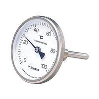 佐藤計量器製作所 バイメタル式温度計 BM-T-75S 2110-20 0〜100℃ 50mm 1セット 61-0096-53 (直送品)