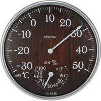 ドリテック アナログ温湿度計 ダークウッド O-319DW 1個