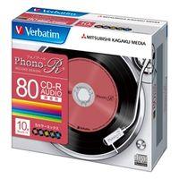 三菱化学メディア MUR80PHS10V1 CDーR(Audio) 80分 5mmケース10枚 パック カラーミックス(5色) PhonoーRシリー (直送品)