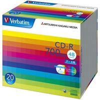三菱化学メディア SR80SP20V1 CDーR 700MB PCデータ用 48倍速対応 20枚スリムケース入り ワイド印刷可能 1パック (直送品)