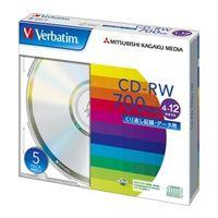 三菱化学メディア SW80EU5V1 CDーRW 700MB PCデータ用 12倍速 5 枚スリムケース入り シルバーディスク 1パック (直送品)