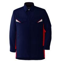 ミドリ安全 ベルデクセルフレックス 長袖シャツ VES225上 ネイビー×レッド LL 1着(直送品)