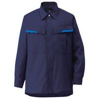 ミドリ安全 ベルデクセルフレックス 男女兼用長袖シャツ VES267上 ネイビー LL 1着(直送品)