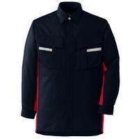 ミドリ安全 ベルデクセルフレックス 長袖シャツ  VES245上 ネイビー×レッド L 1着(直送品)