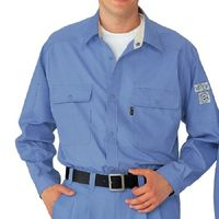 ミドリ安全 ペア長袖シャツ RCS2123 上 ブルー S  1着(直送品)