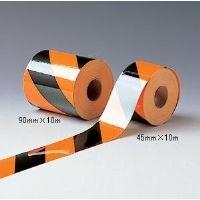 ミドリ安全 標識テープ トラテープ 蛍光 90mm×10m  1巻(直送品)