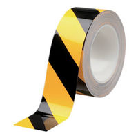 ミドリ安全 ラインテープ ベルデビバハードテープ トラ柄 50MMX20M 1巻(直送品)