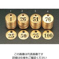 エスコ(esco) 126-150 25枚組ナンバーチェック(25mm丸) 1組 EA591HH-6(直送品)