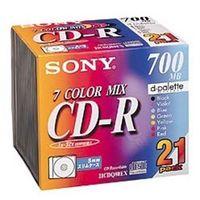 ソニー データ用CDーR 追記型 700MB 48倍速 7 色カラーMix 21枚P 5mmスリムケース 21CDQ80EX 1式 (直送品)