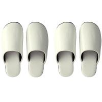 合皮ソフトスリッパ Mサイズ+Lサイズ AL3700-WH-M-L 1セット(2足組:M白1足+L白1足) フナミ (直送品)