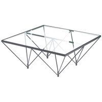 ルネセイコウ ガラステーブル  幅800×奥行800×高さ350mm 1台 (直送品)