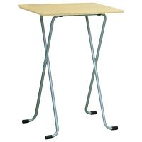 ルネセイコウ ハイテーブル角 ナチュラル/シルバー 幅600×奥行450×高さ850mm 1台 (直送品)