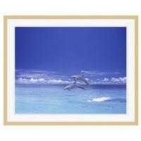 アートプリントジャパン 「青い海とイルカ」 フレーム/XL/木目 1枚