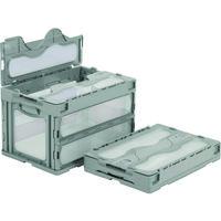 サンコー フタ一体型折りたたみコンテナー 559000 マドコンC-50Bグレー SKO-C-50B-GLL 432-2819(直送品)