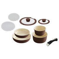 アイリスオーヤマ セラミックカラーパン9点セット IH対応 ブラウン 1セット (直送品)