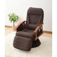 YAMAZEN(山善) オットマン付ポケットコイルレバー式回転座椅子 ダークブラウン 1脚 PRK-60(DBR)OT (直送品)
