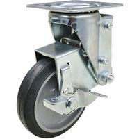 ユーエイ クッションキャスター 125径 自在車 ストッパー付 ゴム車輪 SHSKY-S125NRBDS-30 1個 470-3979(直送品)