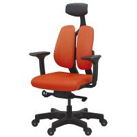 ドリームウェア オフィスチェア D100 DUOREST D2 ヘッドレスト・肘付き オレンジ (直送品)