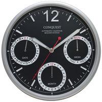 リンクスパイア オートカレンダー機能付マルチファンクション掛け時計 [電波 カレンダー 掛け 時計] ブラック CA-40BK 1個 (直送品)