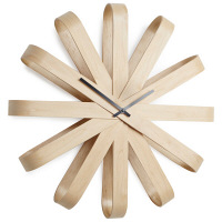 umbra(アンブラ) リボンウッド ウォールクロック [ウォールクロック 時計] ナチュラル 1個 (直送品)