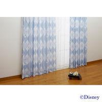 バード ミッキーデザイン遮熱プリントカーテン ブルー 幅150x丈200cm 1セット(2枚入) (直送品)