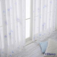バード ミッキーデザイン遮熱レースカーテン ブルー 幅100x丈133cm 1セット(2枚入) (直送品)