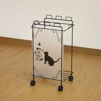 川口工器 ゴミ箱 黒猫モチーフ付きスチールダストボックス Sサイズ フレームブラック 1台 (直送品)